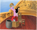 Animation Art:Production Cel, Peter Pan Captain Hook Production Cel and Painted Background (WaltDisney, 1953).... (Total: 2 Items)