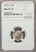 Roosevelt Dimes, 1951-D 10C MS67+ Full Bands NGC. NGC Census: (80/3 and 9/0+). PCGS Population: (73/6 and 16/0+). Mintage 56,529,000. ...