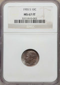 Roosevelt Dimes, 1955-S 10C MS67 Full Bands NGC. NGC Census: (22/0). PCGSPopulation: (12/0). Mintage 18,510,000. ...