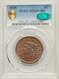 1838 1C N-1, R.1, MS65+ Brown PCGS. CAC....(PCGS# 37180)