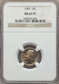 Roosevelt Dimes, 1949 10C MS67 Full Bands NGC. NGC Census: (13/1). PCGS Population: (16/1). Mintage 30,940,000. ...