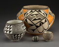 American Indian Art:Pottery, Four Acoma Pottery VesselsLucy M. Lewis...