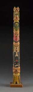 American Indian Art:Wood Sculpture, A Tlingit Polychrome Model Totem Pole...