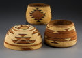 American Indian Art:Baskets, Three Northern California Twined Basketry Items. c. 1900... (Total:3 Items)