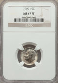 Roosevelt Dimes, 1960 10C MS67 Full Bands NGC. NGC Census: (23/0). PCGS Population: (33/0). Mintage 70,300,000. ...