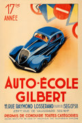 """Movie Posters:Miscellaneous, Auto-École Gilbert (c.1930s). French Driving School Advertising Half Grande (31.5"""" X 47"""").. ..."""