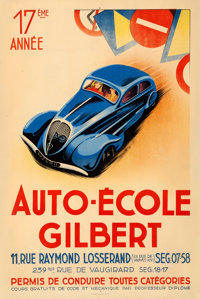 "Auto-École Gilbert (c.1930s). French Driving School Advertising Half Grande (31.5"" X 47"")"