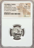 Ancients:Greek, Ancients: CALABRIA. Tarentum. Ca. 272-240 BC. AR stater or didrachm(6.32 gm). NGC XF 4/5 - 3/5....