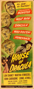 """Movie Posters:Horror, House of Dracula (Universal, 1945). Insert (14"""" X 36"""").. ..."""