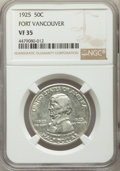 1925 50C Vancouver VF35 NGC. NGC Census: (1/2253). PCGS Population: (0/3404). Mintage 14,994