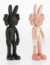 KAWS (American, b. 1974) Accomplice (Pink and Black) (two works), 2002 Painted cast vinyl, each 9