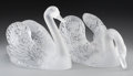 Art Glass:Lalique, Pair of Lalique Clear and Frosted Glass Cygne Tete Droiteand Cygne Tete Penchee Swans. Post-1945. E... (Total: 3Items)
