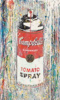 Paintings, Mr. Brainwash (French, b. 1966). Campbell's Tomato Spray, 2010. Acrylic and spray paint on canvas laid on panel . 55 x 3...