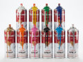 Sculpture, Mr. Brainwash (French, b. 1966). Spray Cans, set of ten, 2013. Aluminum cans with hand finishing and spray paint. 7-5/8 ... (Total: 10 Items)