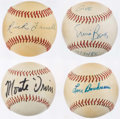 Autographs:Baseballs, Hall of Fame Single Signed Baseball Lot of 4.. ...