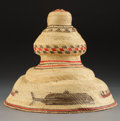 American Indian Art:Baskets, A Nootka/Makah Polychrome Twined Hat...