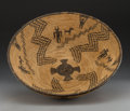 American Indian Art:Baskets, An Apache Pictorial Coiled Bowl. c. 1900...