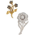 Estate Jewelry:Brooches - Pins, Diamond, Colored Diamond, Sapphire, Platinum, Gold Brooches . ...(Total: 2 Items)
