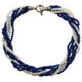 Estate Jewelry:Necklaces, Lapis Lazuli, Cultured Pearl, Sterling Silver Necklace, Tiffany & Co.. ...