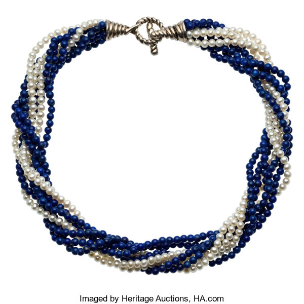 6a46c7226 Estate Jewelry:Necklaces, Lapis Lazuli, Cultured Pearl, Sterling Silver  Necklace, Tiffany&