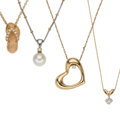 Estate Jewelry:Pendants and Lockets, Diamond, Cultured Pearl, Gold Pendant-Necklaces. ... (Total: 4Items)