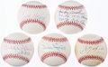 Autographs:Baseballs, Hall of Fame Single Signed Baseball Lot of 5.. ...