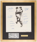 Autographs:Photos, 1956 New York Yankees Team Signed Lithograph with Silver PlateTicket (17 Signatures).. ...