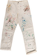 General Americana, Attributed to Keith Haring. White Polyester Pants with AcrylicPaint. 1989. Marks: Signed, dated, and dedicated by Keith Har...