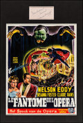 "Movie Posters:Horror, Phantom of the Opera (Universal, 1943). Matted Display (16"" X 24"")with Belgian (Approximately 14"" X 18.5"") & Autographed Ca..."