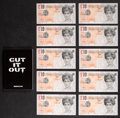 Fine Art - Work on Paper:Print, Banksy (British, b. 1974). Cut It Out, booklet, andDi-Faced Tenner, 10 GBP Note (eleven works), circa 2004.Offset ... (Total: 11 Items)