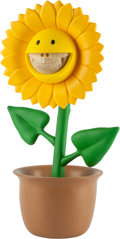 Sculpture, Ron English X Made by Monsters. Sunflower Grin, 2017. Mixed media, steel reinforced, vinyl. 16 x 10-1/4 x 8-1/4 inches (...