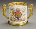 Ceramics & Porcelain, British:Other , Paragon Queen Elizabeth II Ceramic Coronation Loving Cup.1953. Cylindrical, one side with the crowned initials ERI...
