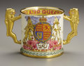 Ceramics & Porcelain, British:Other , Minton George VI Porcelain Coronation Loving Cup. 1937.Cylindrical, commemorating the coronation of King George VI an...