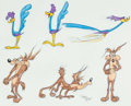 "Animation Art:Production Drawing, Virgil Ross - Road Runner and Wile E. Coyote ""Model Sheet"" DrawingOriginal Art (Warner Brothers, c. 1990s).. ..."