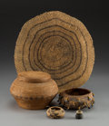 American Indian Art:Baskets, Five West Coast / Southwest Basketry Items. c. 1920...