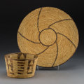 American Indian Art:Baskets, Two Papago Coiled Basketry Items... (Total: 2 Items)