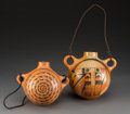 American Indian Art:Pottery, Two Contemporary Hopi CanteensLoren Ami and...