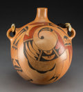 American Indian Art:Pottery, A Contemporary Hopi Polychrome CanteenGarne...