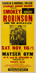 Music Memorabilia:Posters, Smokey Robinson And The Miracles Mayser Gym Concert Poster(1968)....