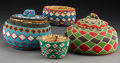 American Indian Art:Baskets, Four Papago/Paiute Beaded Coiled Jars... (Total: 4 Items)