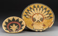 American Indian Art:Baskets, Two Hopi Polychrome Bundle-Coiled Trays... (Total: 2 Items)
