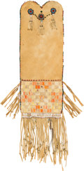 American Indian Art:Beadwork and Quillwork, A Cree Quilled Hide Tobacco Bagc. 1870