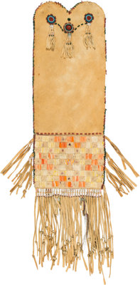A Cree Quilled Hide Tobacco Bag c. 1870