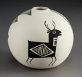 American Indian Art:Pottery, An Acoma Black-On-White Seed Jar. S. Chino...