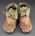 American Indian Art:Beadwork and Quillwork, A Pair of Sioux Quilled Hide Moccasins. ... (Total: 2 Items)