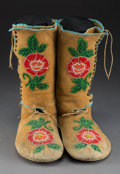 American Indian Art:Beadwork and Quillwork, A Pair of Plateau Hightop Moccasins c. 192...