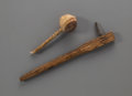 American Indian Art:Pipes, Tools, and Weapons, Two Plains Implements... (Total: 2 Items)