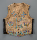 American Indian Art:Beadwork and Quillwork, A Crow Beaded Hide Vest. c. 1890...