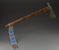 American Indian Art:Beadwork and Quillwork, A Sioux Pipe Tomahawkc. 1870 wood, met...
