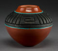 American Indian Art:Pottery, A Contemporary San Ildefonso Carved Red and Blackware Jar. RussellSanchez...